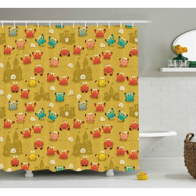 Budde Crabs Children Theme Cartoon Style Crabs Shells and a Sand Castle on Beach Print Shower Curtain Size: 69 W x 70 H