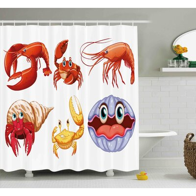 Buggs Illustration of Sea Animals Like Crab Hermit Crab Lobster Shell Shrimp Print Shower Curtain Size: 69 W x 70 H