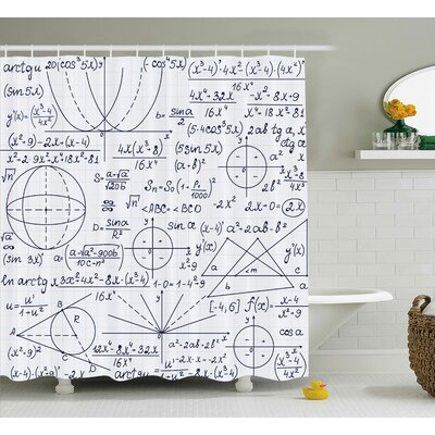 Jasmine Modern School Genius Bright Student Math Geometry Science Numbers Formules Image Shower Curtain Size: 69 W x 70 H