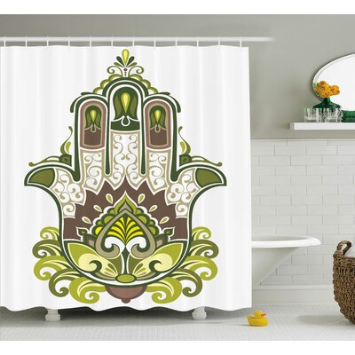 Ouara Hamsa Nature Inspire Sacred Hand With Branch and Leaf Nature Zen Harmony Print Shower Curtain Size: 69 W x 70 H