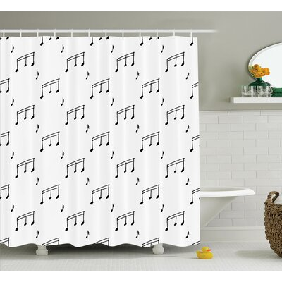 Keri Musical Notes Melody Sonata Singing Songs Clef Tunes Hand Drawn Style Pattern Print Shower Curtain Size: 69 W x 75 H