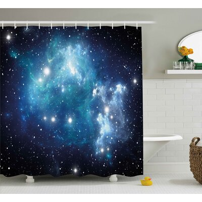 Jorge Bright Celestial Supernova Scenery Dynamic Energy Andromeda Mystical Explosion Picture Shower Curtain Size: 69 W x 75 H