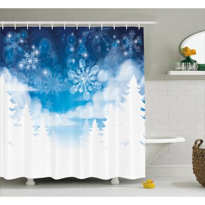Winter Ations Christmas Trees Setting With Snowflakes and Stars New Year Graphic Image Shower Curtain Size: 69