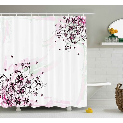 Dunlap Grunge Flower Motif With Swirled Leaves Florets Paintbrush Illustration Shower Curtain Size: 69 W x 70 H