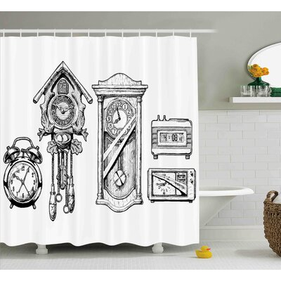 Beatriz Vintage Clocks Set Shower Curtain Size: 69 W x 70 H