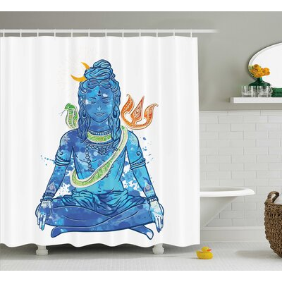 Noryang Yoga Watercolors Style Digital Indian God With Crescent Moon Peace Relax Boho Theme Shower Curtain Size: 69 W x 70 H