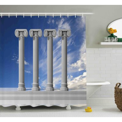 Christina Historical Theme Four Ancient Marble Pillars and The Sky Digital Image Shower Curtain Size: 69 W x 75 H