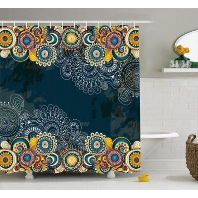 Brittney Floral Bizarre Vibrating Design Vintage Ornaments Leaves Paisley Mandala Art Shower Curtain Size: 69