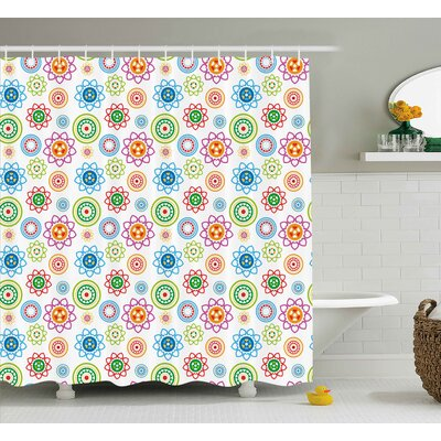 Dorothea Modern Colorful Indian Asian Inspired Patterns With Flower Like Images Artwork Shower Curtain Size: 69 W x 70 H