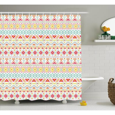 Trista Tribal Aztec Patterns Shower Curtain Size: 69 W x 70 H