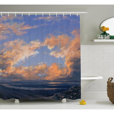 Lorie Scenery Clear Open Sky Landscape Sunset With Clouds Beams Ocean and Cliff Print Shower Curtain Size: 69 W x 70 H
