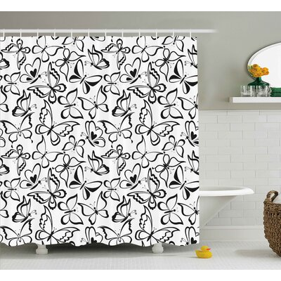 Ina Animal Butterfly Pattern Spiritual Freedom Sign Sacred Feminine Artful Illustration Shower Curtain Size: 69 W x 70 H