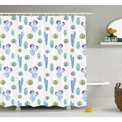 Zelida Blue Botanic Desert Flowers With Spikes Pattern Types of Desert Cactus Art Decor Shower Curtain Size: 69 W x 70 H