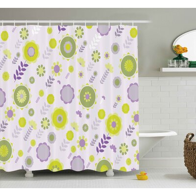 Marjorie Funky Flowers Pattern Nature Essence Beauty Blossoms Spring Image Shower Curtain Size: 69 W x 70 H