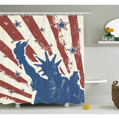 4th of July Retro Pop Art Style Independence Celebration Label Grunge Graphic Shower Curtain Size: 69 W x 84 H