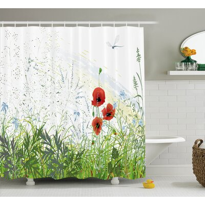 Bonnie Country Illustration of Meadow Field With a Single Fleur-De-Lis on Grunge Background Shower Curtain Size: 69 W x 75 H