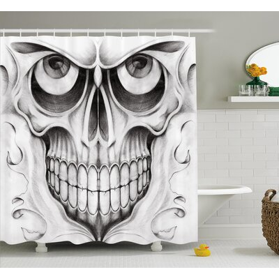 Shawna Day of The Dead Scary Skull Face Angry Expression Festive Art Image Shower Curtain Size: 69 W x 70 H