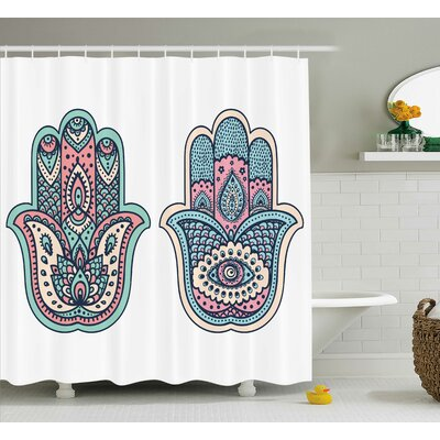 Lyon Hamsa Indian Hand Motif Boho Style Female Lord For Misfortune Print Evil Eye and Lotus Shower Curtain Size: 69 W x 70 H