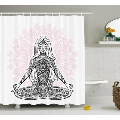 Melbourne Chakra Ornate Girl Figure on Lotus With Eastern Symbols on Body Mind Calming Concept Shower Curtain Size: 69 W x 70 H
