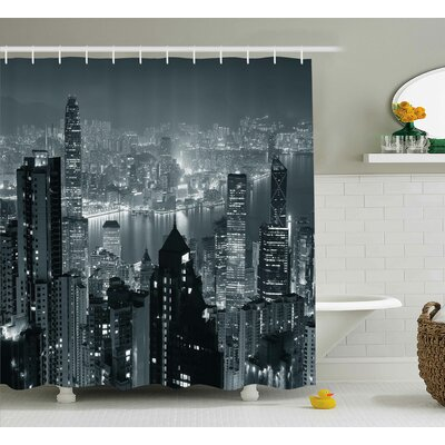 Joann City Aerial Night of View Hong Kong Skyline Famous Modern Urban Town Metropolis Panorama Shower Curtain Size: 69 W x 70 H