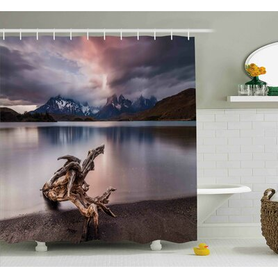 Marquita Driftwood on The Coast Reflection of The Mountains Shower Curtain Size: 69 W x 70 H