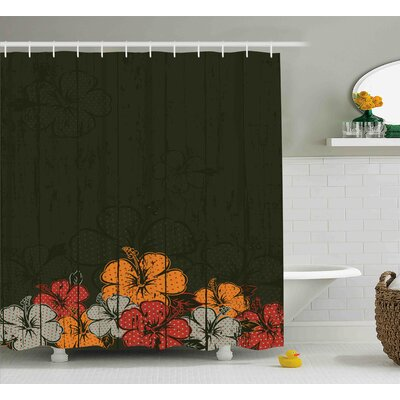 Knapp Abstract Wooden Backdrop With Hawaiian Romantic Flowers Buds Blooms Leaves Shower Curtain Size: 69 W x 70 H