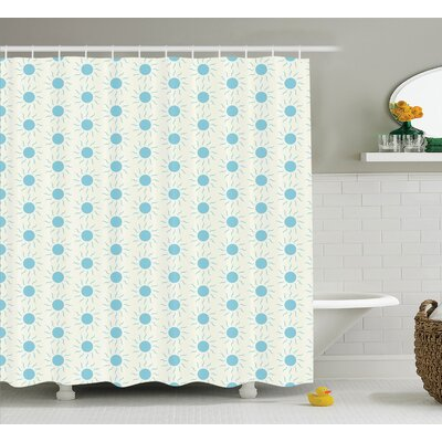 Ellen Blue Sun Shape Circle and Swirl Shower Curtain Size: 69 W x 75 H