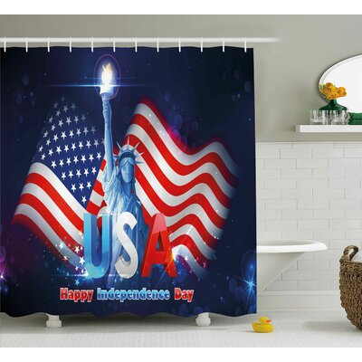 4th of July Hipster Dog With Sun Glasses and Us Flag Comic Absurd Joke Illustration Shower Curtain Size: 69 W x 70 H