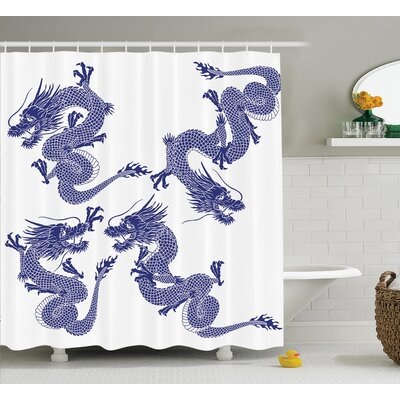 Joy Dragon Indigenous Japanese Dragons on White Vitality Legendary Creatures Asian Myth Print Shower Curtain Size: 69 W x 84 H