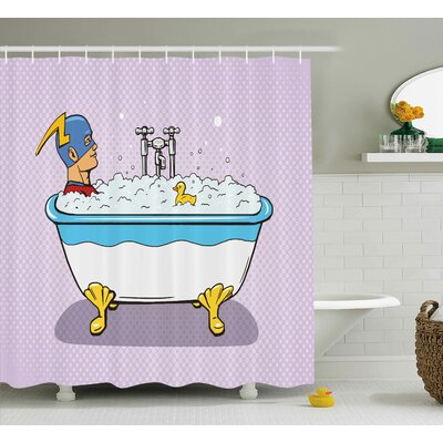 Abdul Comics Superhero Fast Furious Relaxing Shower Curtain Size: 69 W x 70 H
