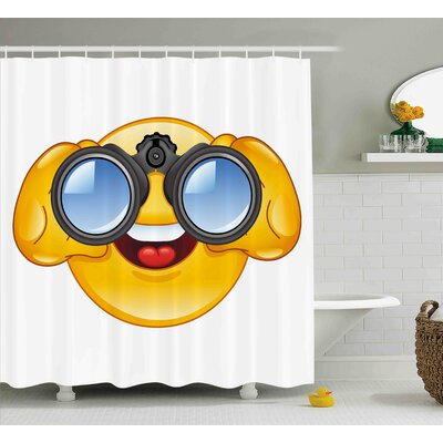 Kathleen Emoji Smiley Face With a Telescope Binoculars Glasses Watching Outside Cartoon Print Shower Curtain Size: 69 W x 70 H