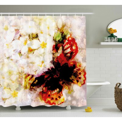 Tatum Paisley Flower Garden With Orchids Roses Jasmines and Butterflies Abstract Decor Shower Curtain Size: 69 W x 70 H
