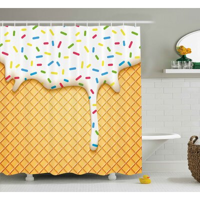 Elinor Food Cartoon Like Image of and Melting Ice Cream Cones Colored Sprinkles Art Print Shower Curtain Size: 69