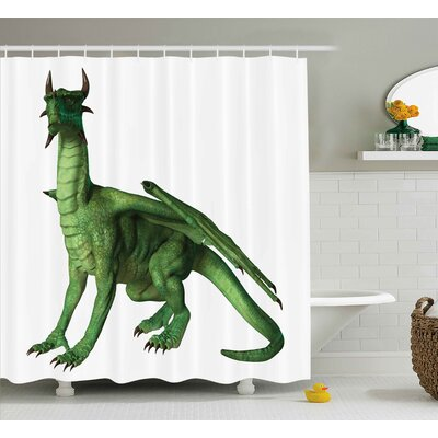 Derrick Kids Ugly But Cute Dragon Standing and Looking Miniature Dino Like Image Print Shower Curtain Size: 69 W x 70 H