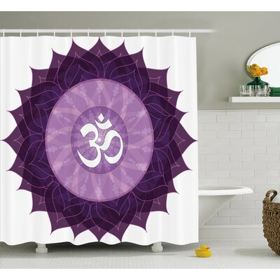 Irene Chakra Circular Lace Point Form With Arabic Lettering The Shower Curtain Size: 69 W x 70 H