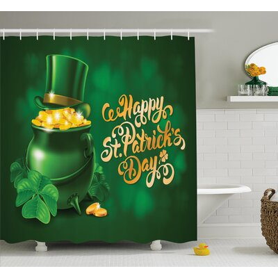 St. PatrickS Day Large Pot of Gold Leprechaun Hat and Shamrocks Greetings 17Th March Shower Curtain Size: 69 W x 70 H