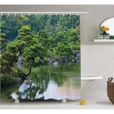 Odonnell Japanese River With Trees Flowers Stones Silence Shower Curtain Size: 69 W x 70 H