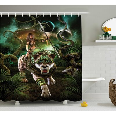 Fantasy World Graphics of Fantasy Scene With Girl and Tiger Magical Plants Galaxy Home Shower Curtain Size: 69 W x 70 H