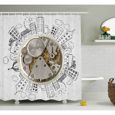 Chandler An Alarm Clock With Clouds and Buildings Around It Pattern Decorative Design Shower Curtain Size: 69 W x 70 H