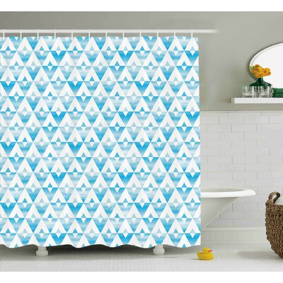 Karns Modern Geometric Contemporary Shapes Triangle Line With Clear Cloud Backdrop Image Shower Curtain Size: 69 W x 70 H