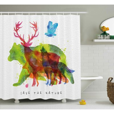 Lela Alaska Animals Bears Wolfs Eagles Deers Shower Curtain Size: 69 W x 70 H