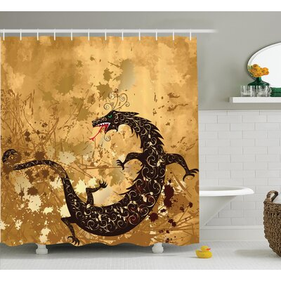 Oussem Dragon Brown Reptile Dragon on Grunge Background Floral Ornate Ancient Asian Retro Image Shower Curtain Size: 69 W x 70 H