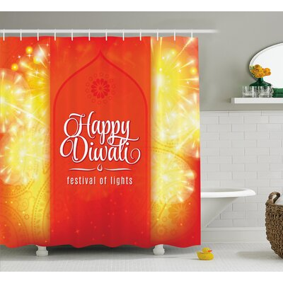 Wilkerson Diwali Festive Celebration Indian Religious Sacred Day Fireworks Happy Wishes Art Print Shower Curtain Size: 69 W x 70 H