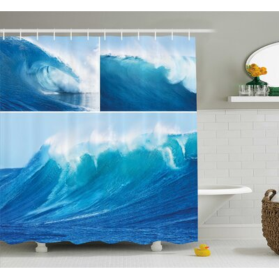 Buchholz Giant Sea Wave Photos Refreshing Diving and Surfing Lifestyle Leisure Concept Art Shower Curtain Size: 69 W x 70 H