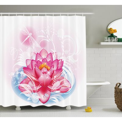 Deanna Mandala Decor Indian Yoga Theme Lotus Flower With Abstract Mantis and Dots Photo Shower Curtain Size: 69 W x 75 H