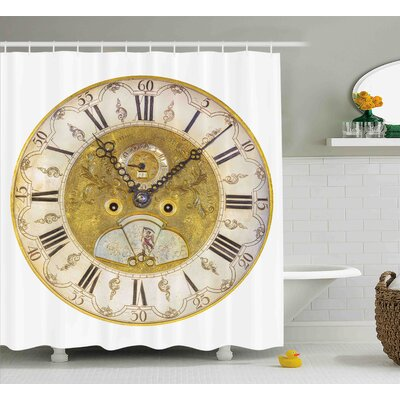 Piper Vintage Theme a Seventeenth Century Ornamental Clock Face With Roman Numeral Shower Curtain Size: 69 W x 70 H