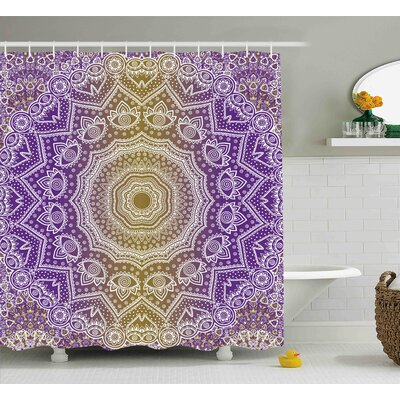 Ayr Yellow and Purple Mandala Ombre East Tradition Deep Sacred Mystic Magic Shower Curtain Size: 69 W x 70 H