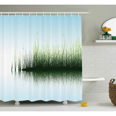 Ryanda Nature Spring Time Sunset Beams Lake Reflection With Leaves Buds Flowers Rock Image Shower Curtain Size: 69 W x 70 H