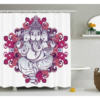 Shields Indian Elephant Goddess Over Floral Embellished Colorful Mandala Pattern East Symbol Shower Curtain Size: 69