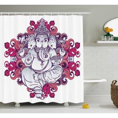 Shields Indian Elephant Goddess Over Floral Embellished Colorful Mandala Pattern East Symbol Shower Curtain Size: 69 W x 75 H